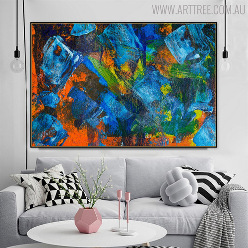 Dark Color Abstract Handmade Canvas Art for Living Room Wall Outfit