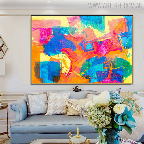 Lite Color Abstract Acrylic Smudge for Lounge Room Wall Flourish