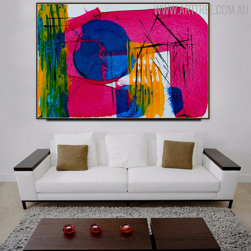 Pink Blue Shade Abstract Canvas Vignette for Lounge Room Wall Decor