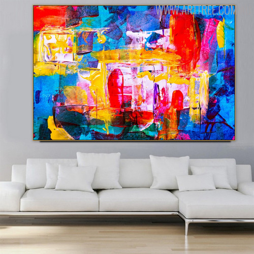 Red Blue Shade Abstract Oil Portmanteau for Living Room Wall Decoration