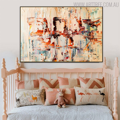Light Colors Abstract Handmade Oil Delineation for Kids Room Wall Decor