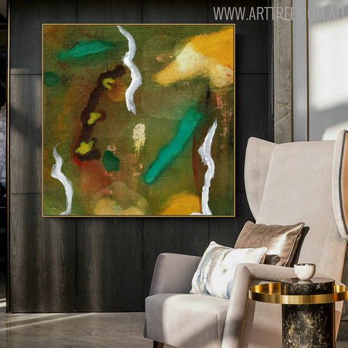 Curved Lines Abstract Modern Canvas Painting for Living Room Wall Outfit