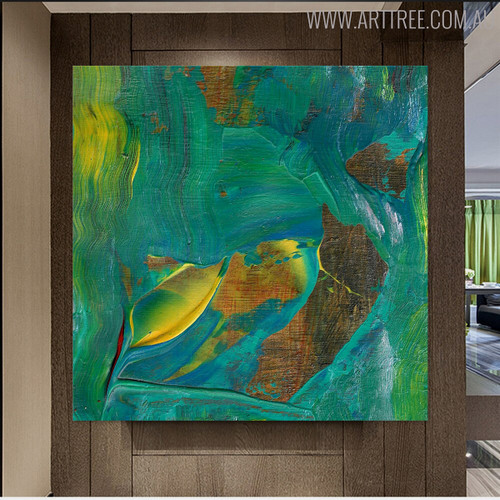 Brown Shade Abstract Handmade Oil Smudge for Room Wall Getup