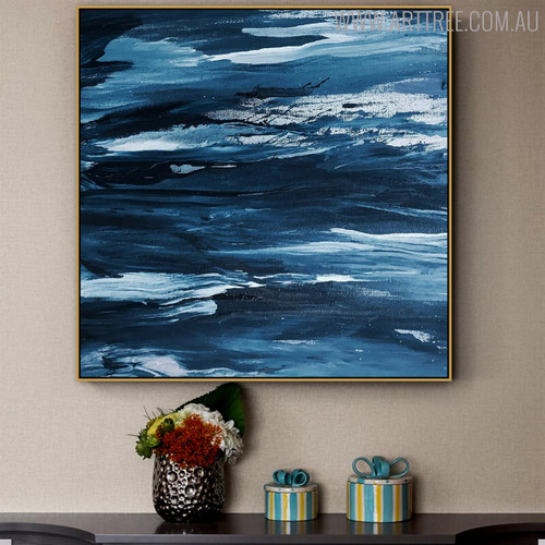 Seascape Abstract Texture Handmade Oil Smudge Home Wall Ornament