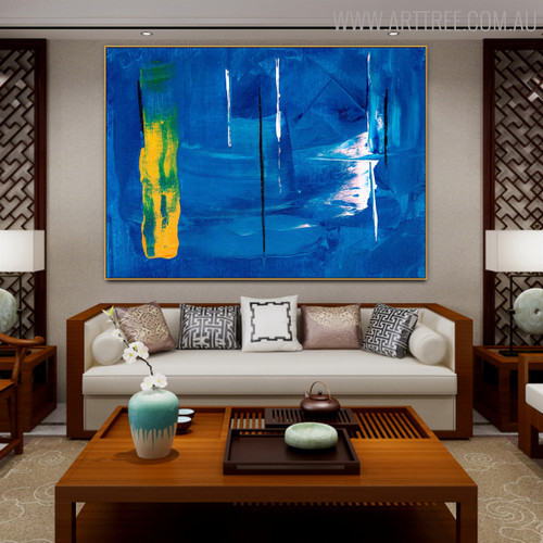 Bluish Abstract Texture Handmade Oil Portraiture for Interior Wall Decor