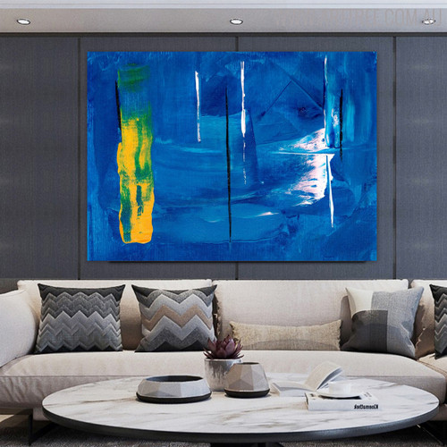 Bluish Abstract Texture Handmade Oil Portraiture for Living Room Wall Disposition