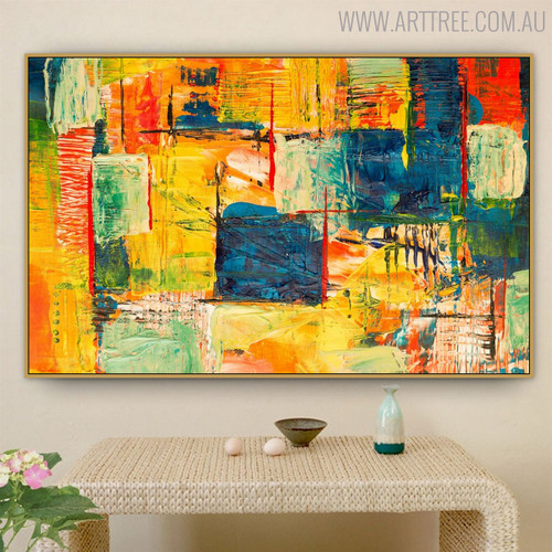 Non Realistic Abstract Texture Handmade Oil Effigy for Dining Room Wall Tracery