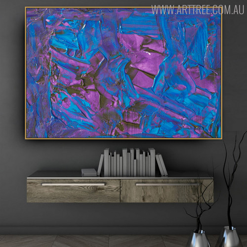 Purplish Abstract Texture Canvas Artwork for Study Room Wall Trimming
