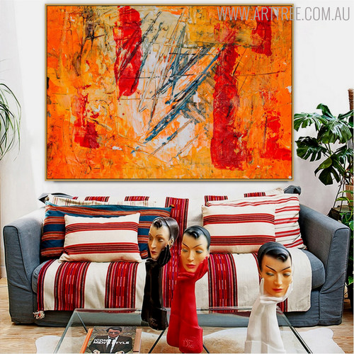 Reddish Abstract Texture Canvas Painting for Home Wall Decor