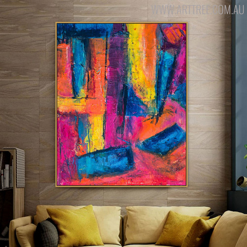 Pinkish Abstract Modern Texture Acrylic Smudge for Lounge Room Wall Onlay