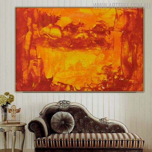 Warm Abstract Modern Texture Canvas Art for Interior Wall Flourish