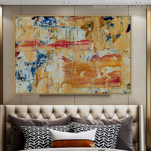Yellowish Abstract Modern Texture Acrylic Painting for Room Wall Getup