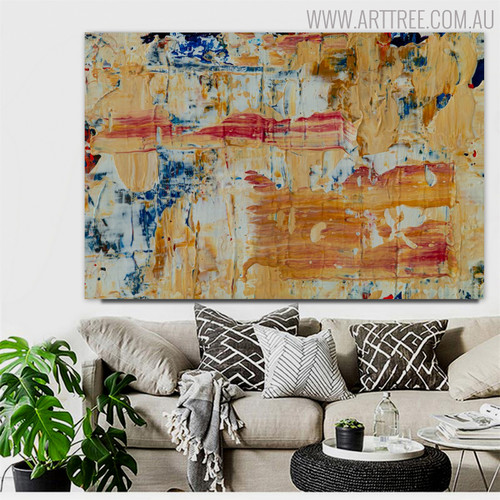 Yellowish Abstract Modern Texture Acrylic Painting for Lounge Room Wall Tracery