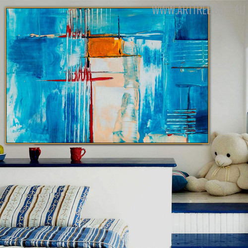 Turquoise Abstract Modern Texture Canvas Wall Art for Wall Getup