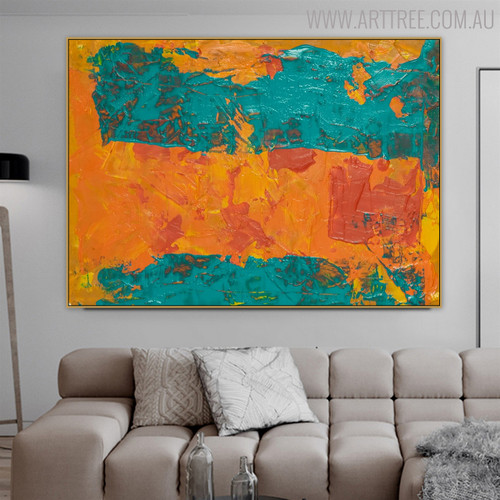 Teal Abstract Modern Texture Handpainted Canvas for Room Wall Decoration