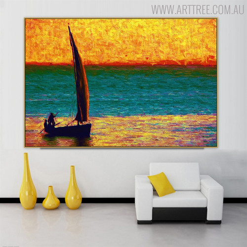Sailboat Modern Seascape Canvas Smudge for Interior Wall Disposition