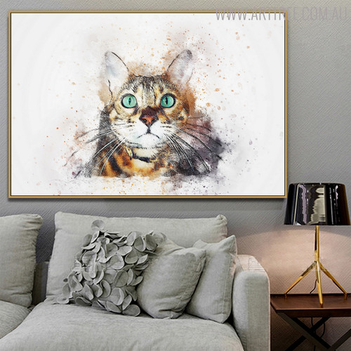 Domestic Cat Animal Modern Handpainted Canvas for Lounge Room Wall Outfit