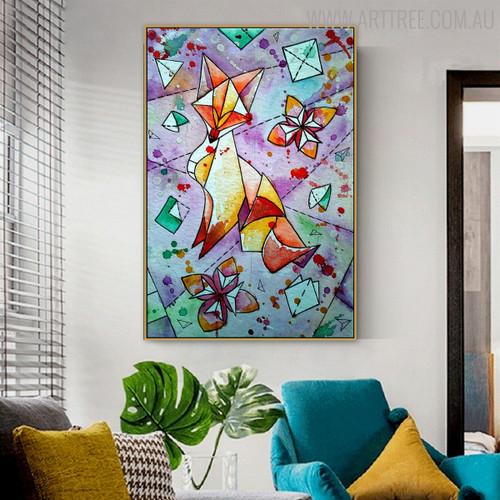 Creative Fox Animal Modern Abstract Handmade Canvas Art for Living Room Wall Garniture