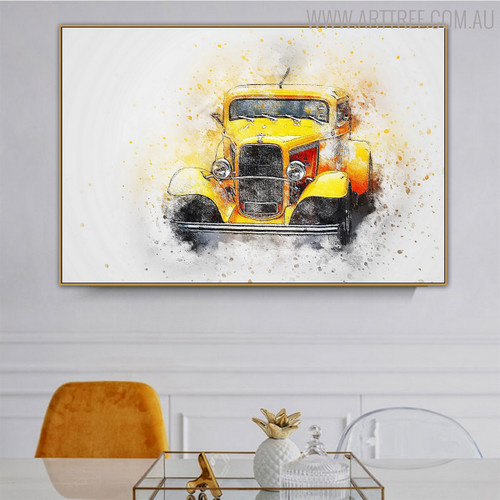 Vintage Car Abstract Modern Handpainted Canvas for Dining Room Wall Ornamentation