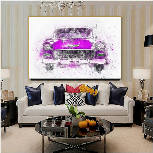 Purple Antique Car Abstract Handmade Canvas Art for Room Wall Onlay