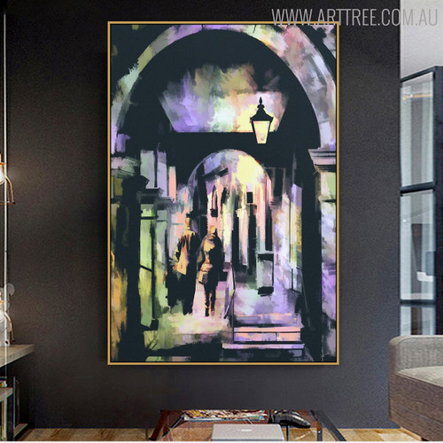 Street Abstract Cityscape Modern Handmade Oil Portrayal for Living Room Ornament