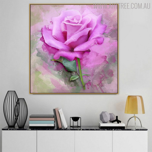 Pinkish Rose Floral Modern Oil Smudge on Canvas for Interior Wall Getup