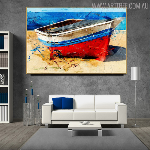 Boat Seascape Contemporary Canvas Art for Room Wall Assortment