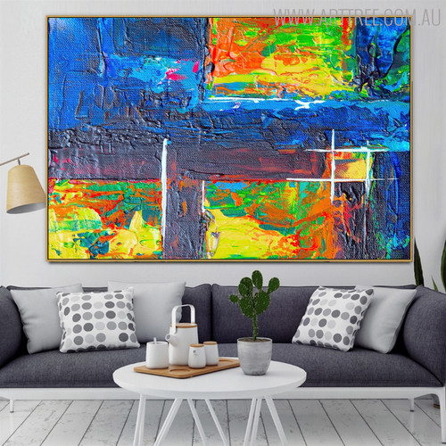 Hash Abstract Framed Texture Oil Draught on Canvas for Interior Wall Drape