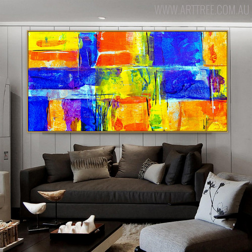 Chromatic Boxes Abstract Framed Texture Canvas Portraiture for Living Room Wall Getup