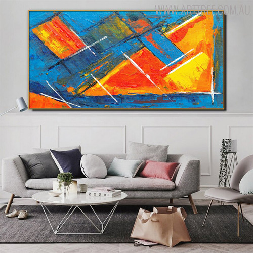 Obtuse Scalene Triangle Abstract Texture Framed Canvas Portraiture for Lounge Room Wall Garniture