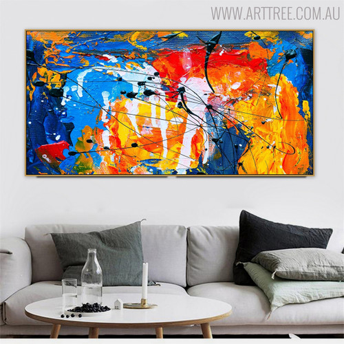 Dribbles Abstract Framed Texture Oil Effigy for Living Room Wall Tracery