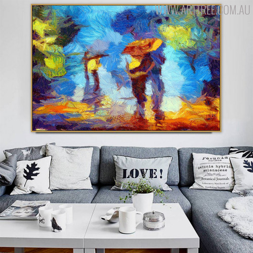Rain Modern Texture Handmade Oil Smudge for Living Room Wall Equipment