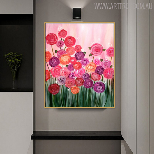 Colorful Roses Floral Handmade Oil Smudge for Dining Room Wall Outfit