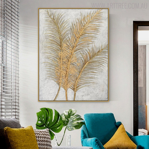 Palm Leaves Floral Modern Handmade Canvas Likeness for Home Wall Getup