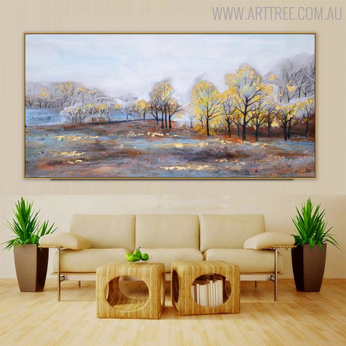 Shining Forest Abstract Landscape Handmade Canvas Artwork for Living Room Wall Decor
