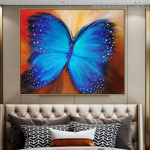 Blue Butterfly Animal Modern Oil Smudge on Canvas for Living Room Wall Ornament