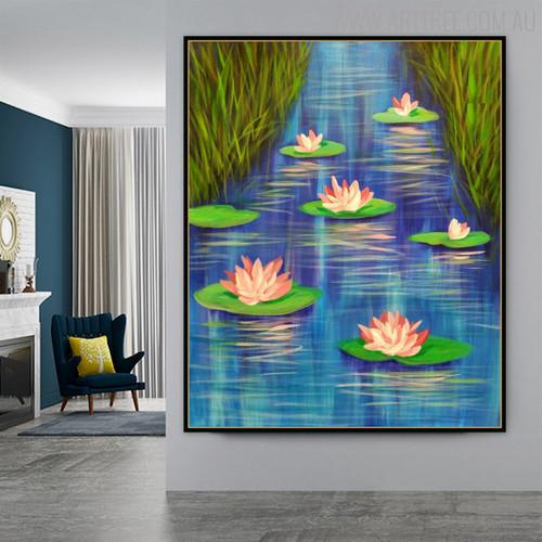 Lotus Floral Modern Handmade Oil Likeness for Wall Flourish