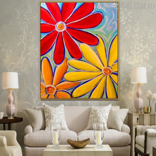 Hued Flowers Floral Modern Oil Resemblance for Interior Wall Outfit