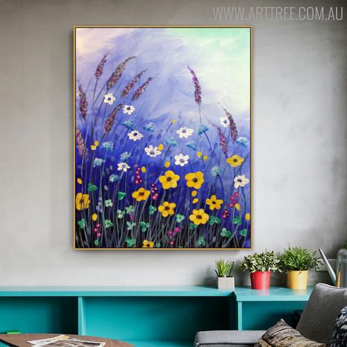 Flowers Garden Floral Handmade Canvas Artwork for Interior Wall Drape