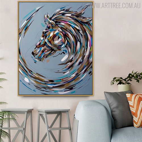 Wild Horse Abstract Animal Modern Acrylic Painting for Interior Wall Ornament