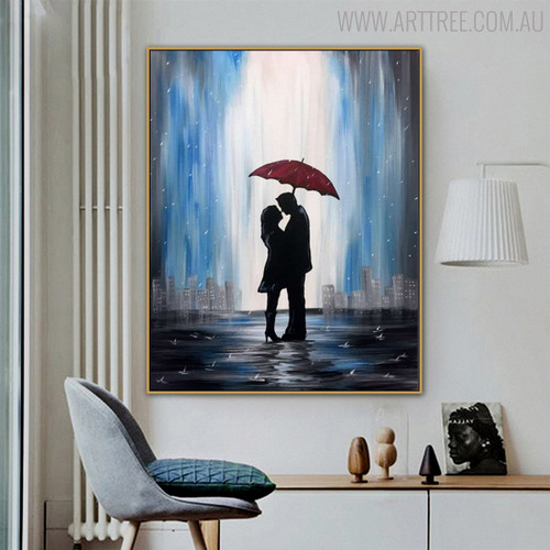 Love Rain Cityscape Modern Oil Resemblance for Living Room Wall Decor