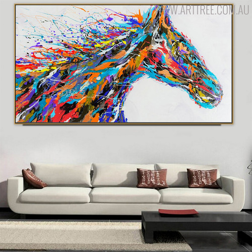 Horse Face Abstract Animal Modern Handmade Canvas Artwork for Interior Wall Flourish