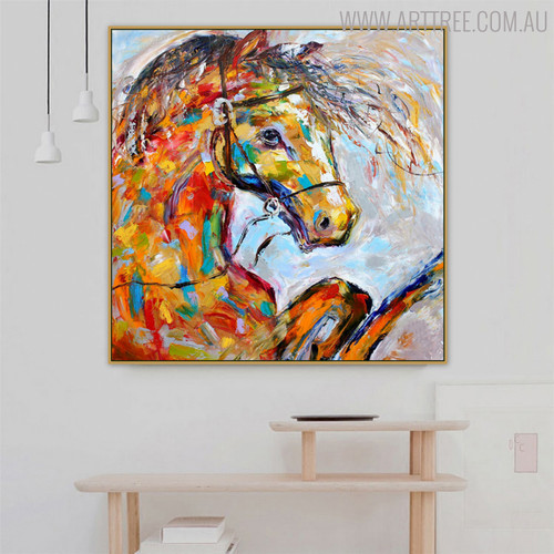 Horse Visage Animal Modern Oil Likeness on Canvas for Interior Wall Getup