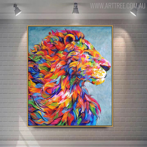 Calico Lion Animal Modern Textured Knife Canvas Vignette for Wall Assortment