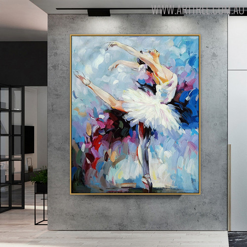 Ballet Dancer Modern Textured Knife Oil Portmanteau on Canvas for Room Wall Ornament