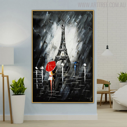 Eiffel Tower Night Modern Cityscape Texture Knife Effigy for Wall Getup