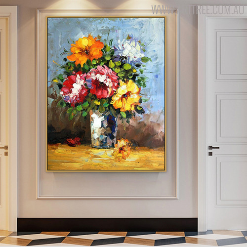Bouquet Floral Heavy Hand Painted Texture Knife Likeness for Home Wall Decor