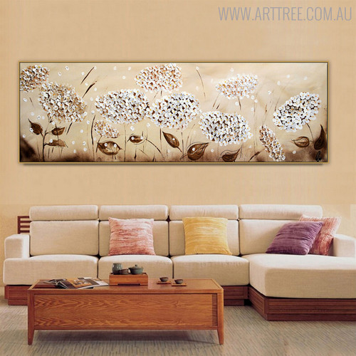 Jasmine Floral Handmade Oil Painting for Living Room Wall Getup