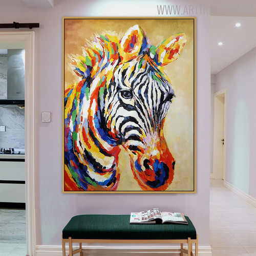 Zebra Animal Texture Knife Handmade Oil Vignette on Canvas for Room Wall Decor