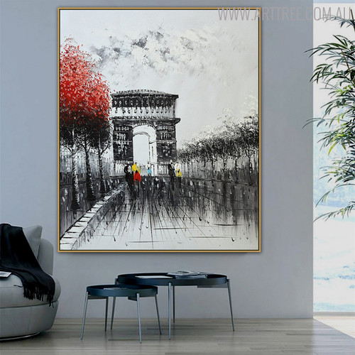 Triumphal Arch Cityscape Hand Painted Modern Impressionist Oil Effigy for Interior Decoration